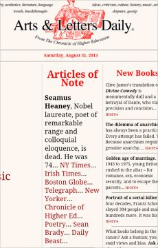 My blog post on Seamus Heaney was recommended by the Arts & Letter Daily.