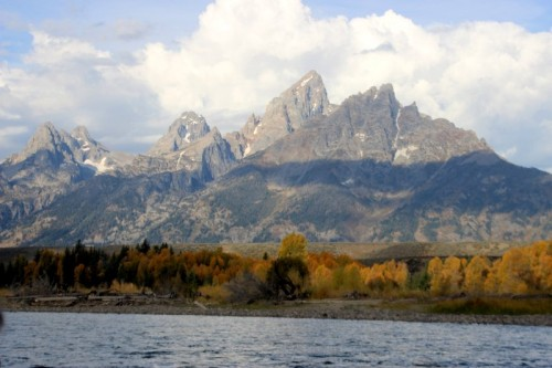 The Tetons from the Snake River.