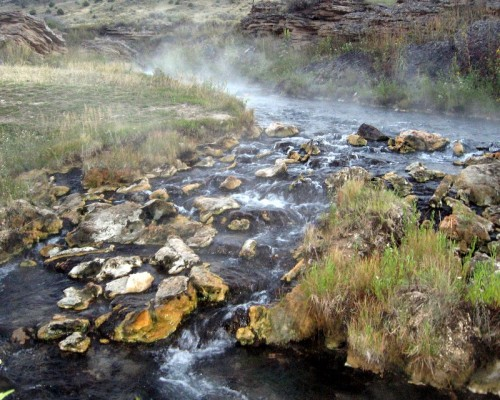 The Boiling River's scalding waters enter the Gardiner River
